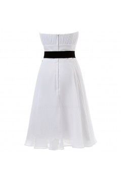A-Line Strapess Short White Chiffon Bridesmaid Dresses/Wedding Party Dresses BD010053