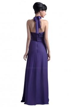 Sheath/Column Halter Long Purple Chiffon Bridesmaid Dresses/Wedding Party Dresses BD010056