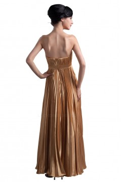A-Line Strapless Beaded Pleated Gold Long Bridesmaid Dresses/Wedding Party Dresses BD010061