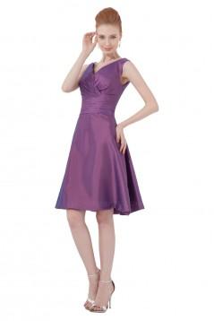 A-Line V-Neck Short Blue Taffeta Bridesmaid Dresses/Wedding Party Dresses BD010063