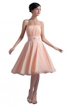 A-Line Strapless Beaded Short Chiffon Bridesmaid Dresses/Wedding Party Dresses BD010065