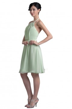 A-Line Halter Short Chiffon Bridesmaid Dresses/Wedding Party Dresses BD010068