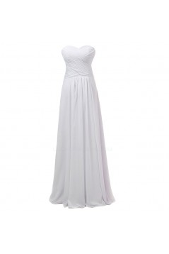 A-Line Sweetheart Long White Chiffon Bridesmaid Dresses/Wedding Party Dresses BD010069