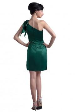 Short/Mini Green One-Shoulder Satin Bridesmaid Dresses/Wedding Party Dresses BD010073