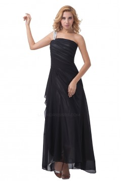 A-Line One-Shoulder Long Black Chiffon Bridesmaid Dresses/Wedding Party Dresses BD010081