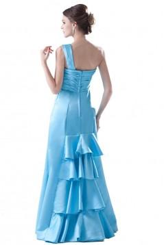 Trumpet/Mermaid One-Shoulder Long Satin Bridesmaid Dresses/Wedding Party Dresses BD010082