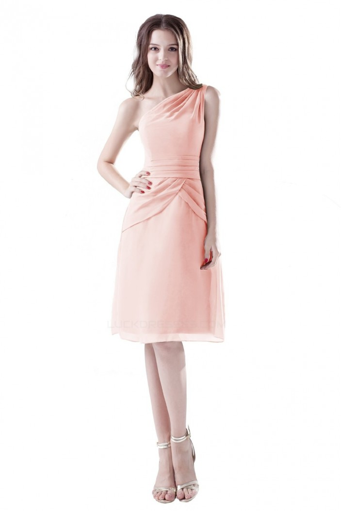 A-Line One-Shoulder Short Chiffon Bridesmaid Dresses/Wedding Party Dresses BD010083