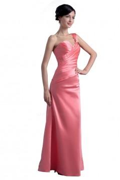 A-Line One-Shoulder Long Satin Bridesmaid Dresses/Wedding Party Dresses BD010084