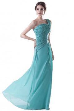 Sheath/Column One-Shoulder Long Blue Chiffon Bridesmaid Dresses/Wedding Party Dresses BD010086