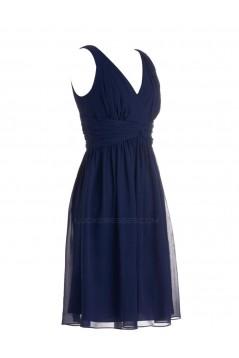A-Line V-Neck Short Navy Blue Chiffon Bridesmaid Dresses/Wedding Party Dresses BD010093
