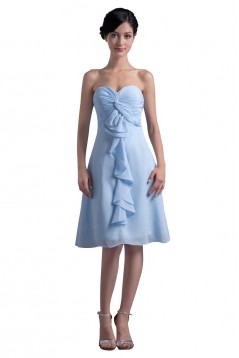 A-Line Sweetheart Short Blue Chiffon Bridesmaid Dresses/Wedding Party Dresses BD010096