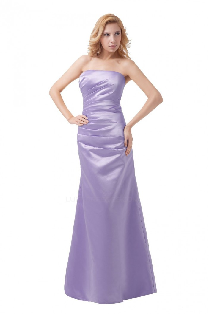 A-Line Strapless Long Satin Bridesmaid Dresses/Wedding Party Dresses BD010100