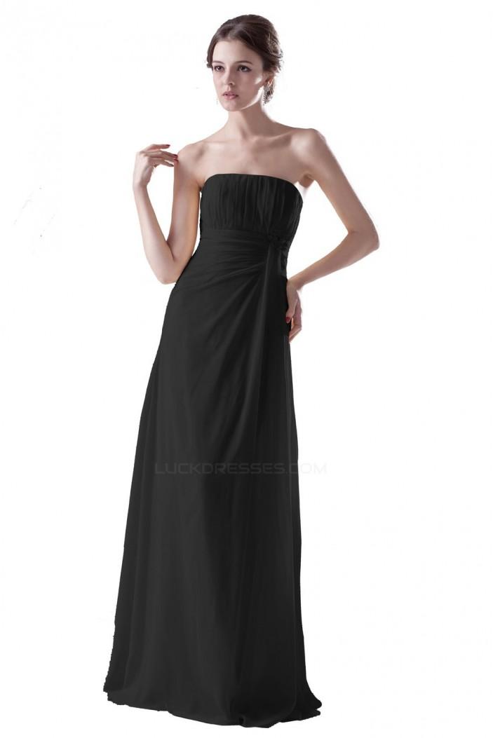 A-Line Strapless Long Black Chiffon Bridesmaid Dresses/Wedding Party Dresses BD010101