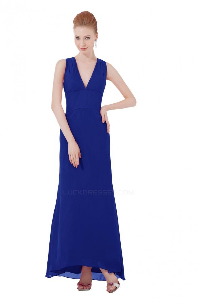A-Line V-Neck Long Blue Bridesmaid Dresses/Wedding Party Dresses BD010102