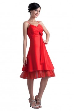A-Line Spaghetti Strap Short Red Bridesmaid Dresses/Wedding Party Dresses BD010103