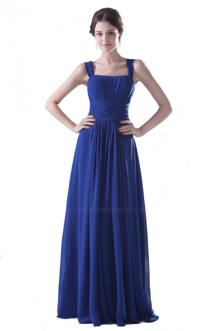 Sheath/Column Royal Blue Long Chiffon Bridesmaid Dresses/Wedding Party Dresses BD010104