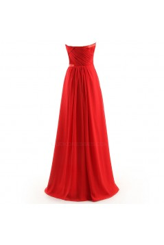 A-Line Strapless Long Chiffon Bridesmaid Dresses/Wedding Party Dresses BD010107