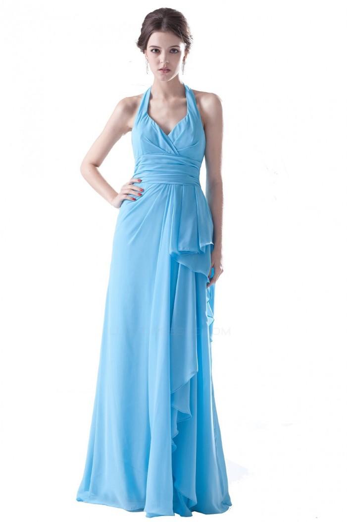 Sheath/Column Halter Long Blue Bridesmaid Dresses/Wedding Party Dresses BD010110