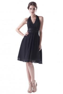 A-Line Halter Black Short Chiffon Bridesmaid Dresses/Wedding Party Dresses BD010112