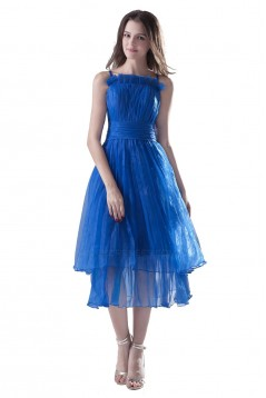 A-Line Spaghetti Strap Pleated Blue Bridesmaid Dresses/Wedding Party Dresses BD010113