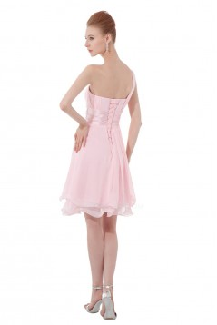 A-Line One-Shoulder Short Pink Chiffon Bridesmaid Dresses/Wedding Party Dresses BD010115