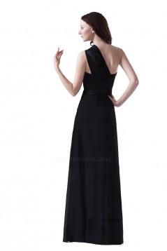 A-Line One-Shoulder Long Black Chiffon Bridesmaid Dresses/Wedding Party Dresses BD010117
