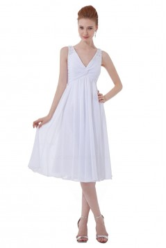A-Line V-Neck Short White Chiffon Bridesmaid Dresses/Wedding Party Dresses BD010122