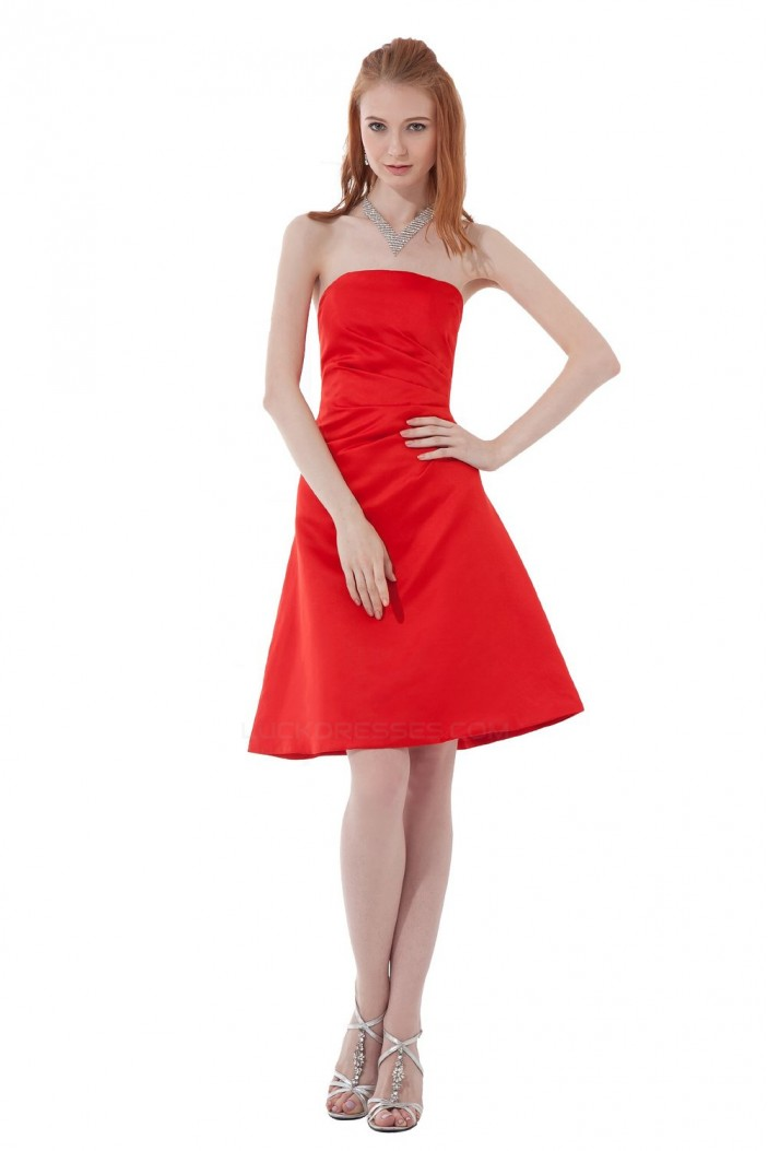 A-Line Strapless Short Red Bridesmaid Dresses/Wedding Party Dresses BD010124