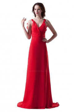 Sheath/Column V-Neck Straps Sleeveless Long Red Bridesmaid Dresses/Wedding Party Dresses BD010125