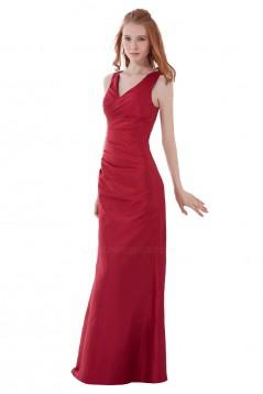 V-Neck Long Red Bridesmaid Dresses/Wedding Party Dresses BD010126