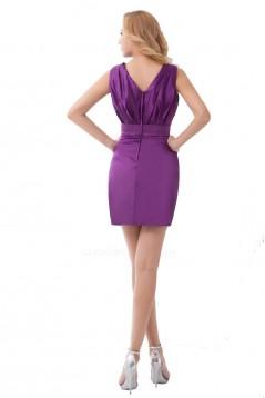 Short/Mini Purple V-Neck Bridesmaid Dresses/Wedding Party Dresses BD010127