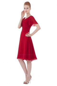 A-Line V-Neck Short Sleeve Red Chiffon Bridesmaid Dresses/Wedding Party Dresses BD010138