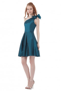 A-Line One-Shoulder Short Taffeta Bridesmaid Dresses/Wedding Party Dresses BD010142