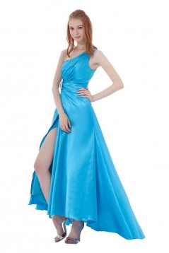 A-Line One-Shoulder Beaded Long Blue Bridesmaid Dresses/Wedding Party Dresses BD010143