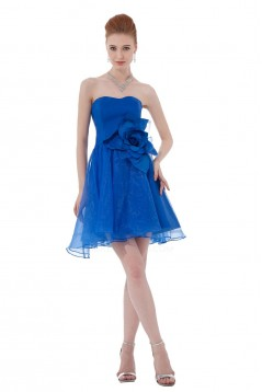 A-Line Strapless Short/Mini Blue Bridesmaid Dresses/Wedding Party Dresses BD010145