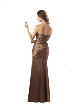 Sheath Strapless Long Satin Bridesmaid Dresses/Wedding Party Dresses BD010146