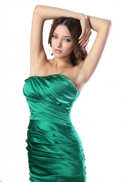 Sheath Strapless Long Green Satin Bridesmaid Dresses/Wedding Party Dresses BD010147