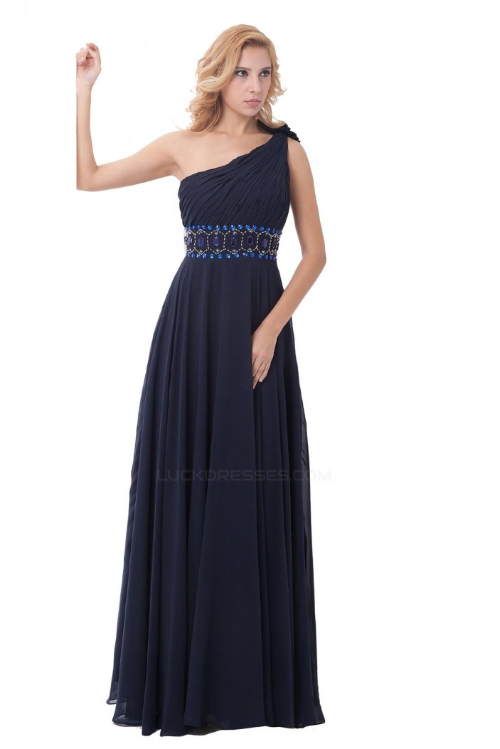 Sheath/Column One-Shoulder Beaded Navy Blue Long Bridesmaid Dresses/Wedding Party Dresses/Evening Dresses BD010153