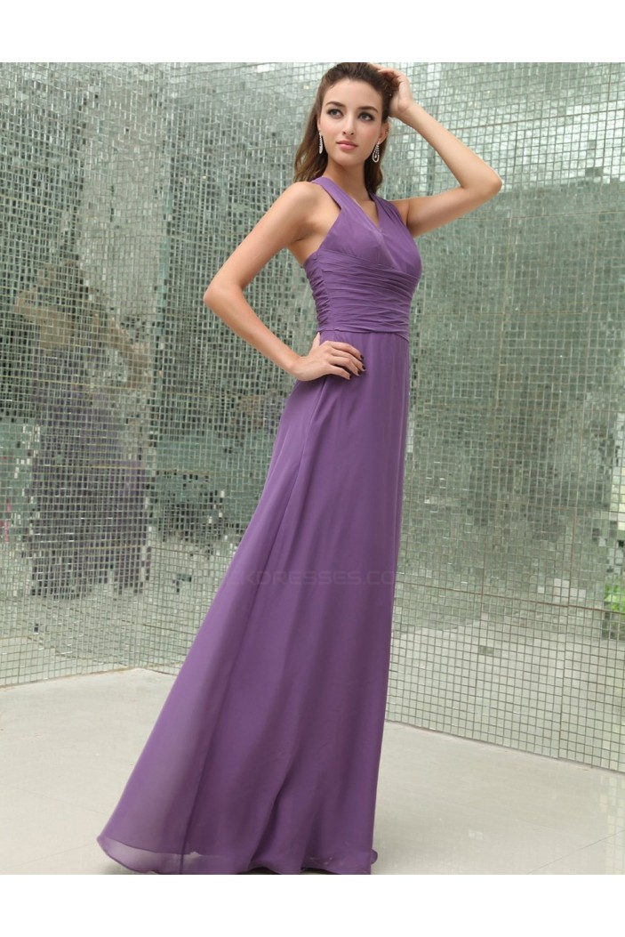 A-Line V-Neck Long Chiffon Bridesmaid Dresses/Wedding Party Dresses BD010156