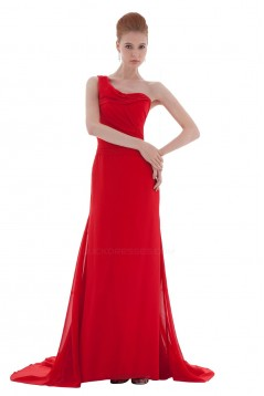 A-Line One-Shoulder Long Red Chiffon Bridesmaid Dresses/Wedding Party Dresses BD010158
