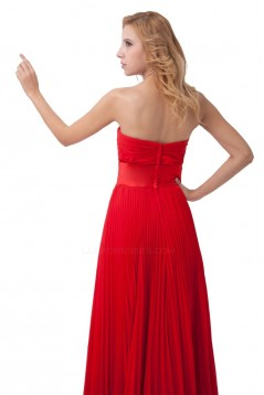 A-Line Pleated Long Red Chiffon Bridesmaid Dresses/Wedding Party Dresses BD010167