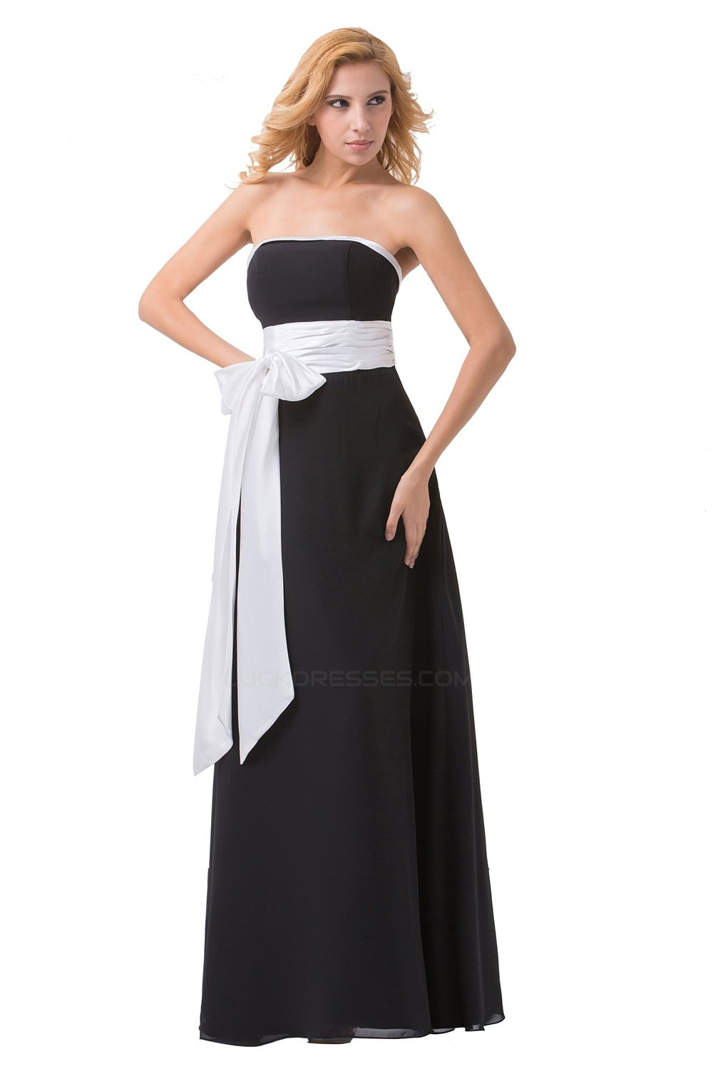 A Line Strapless Black White Long Chiffon Bridesmaid Dresses Wedding Party Dresses Bd010170