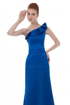A-Line One-Shoulder Royal Blue Satin Long Bridesmaid Dresses/Wedding Party Dresses BD010173