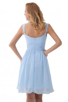 A-Line Straps Sleeveless Short Blue Chiffon Bridesmaid Dresses/Wedding Party Dresses BD010178