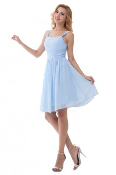 A-Line Straps Sleeveless Short Blue Chiffon Bridesmaid Dresses/Wedding Party Dresses BD010178