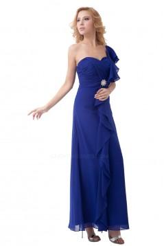Sheath/Column One-Shoulder Royal Blue Long Chiffon Bridesmaid Dresses/Wedding Party Dresses BD010179