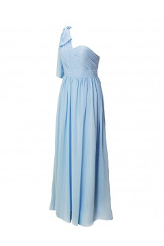 A-Line One-Shoulder Blue Long Chiffon Bridesmaid Dresses/Wedding Party Dresses BD010182