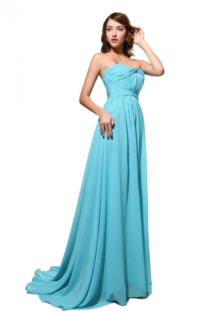 A-Line Sweetheart Long Blue Chiffon Bridesmaid Dresses/Wedding Party Dresses BD010183