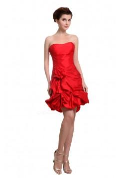 A-Line Strapless Short/Mini Red Bridesmaid Dresses/Wedding Party Dresses BD010185