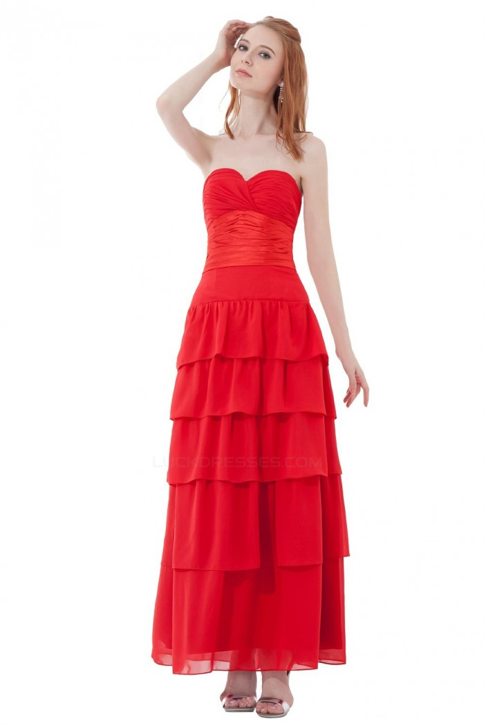 A-Line Sweetheart Long Red Chiffon Bridesmaid Dresses/Wedding Party Dresses BD010186